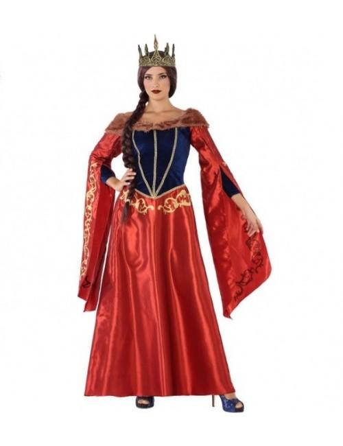 Rochie rosie Regina medievala, femei, S-XXL