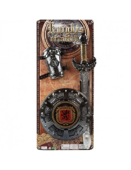 Set luptator medieval: sabie si scut, armura mana