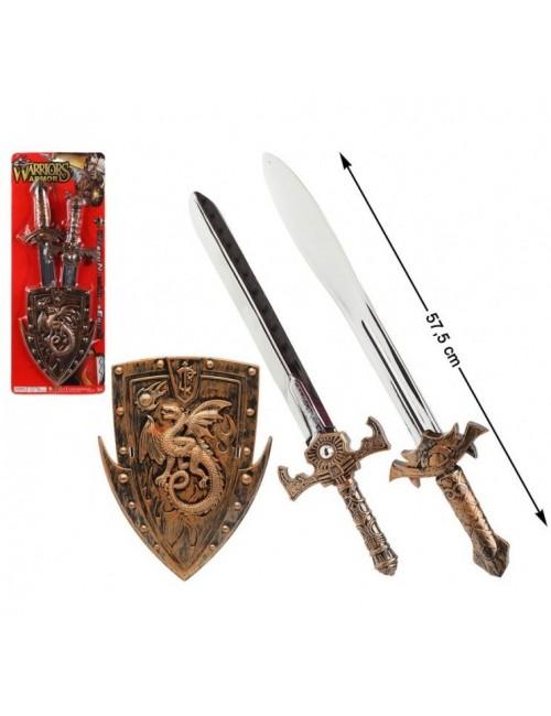 Set luptator: Scut cu dragon si 2 sabii