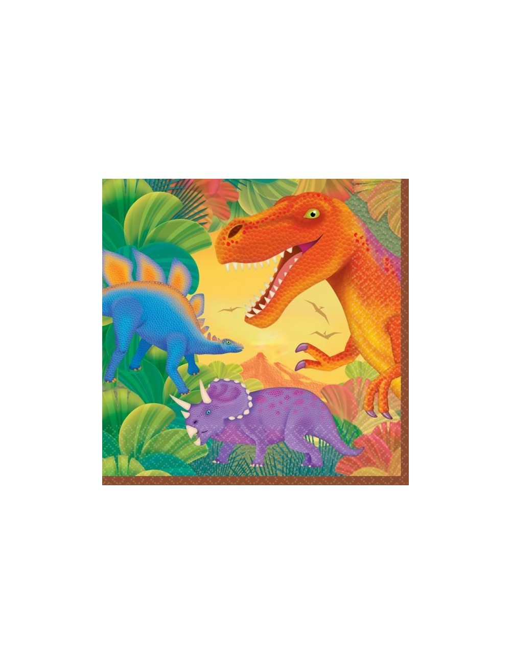 Set 16 servetele Dinozauri, multicolore, 33 cm