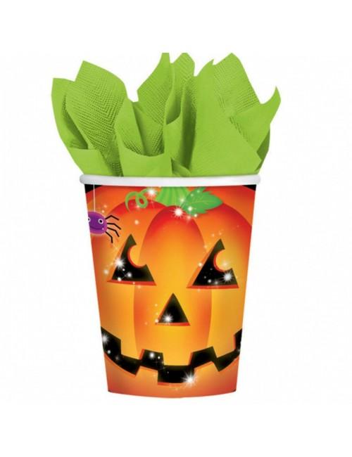 Set 8 pahare Dovleac Halloween, carton, 266 ml