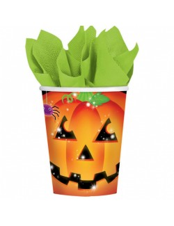 Set 8 pahare Dovleac Halloween, carton, 266 ml