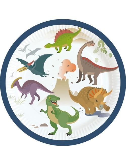 Set 8 farfurii Dinozauri, 18 cm