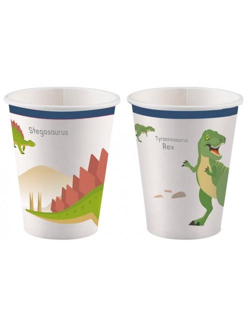 Set 8 pahare party, Dinozauri, carton, 250 ml
