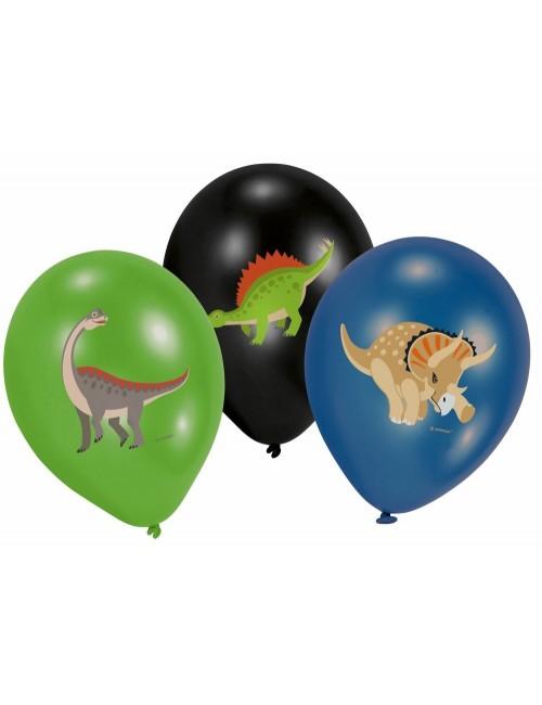 Set 6 baloane multicolore Dinozauri, 28 cm