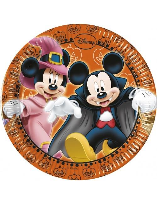 Set 8 farfurii Halloween cu Mickey si Minnie, 20 cm