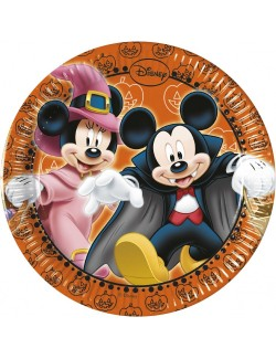 Set 8 farfurii Halloween cu Mickey si Minnie, 20 cm