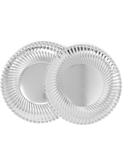 Set 8 farfurii petrecere, argintii, 24 cm