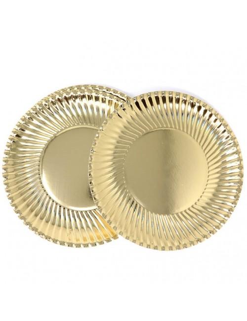 Set 8 farfurii petrecere, aurii, 24 cm