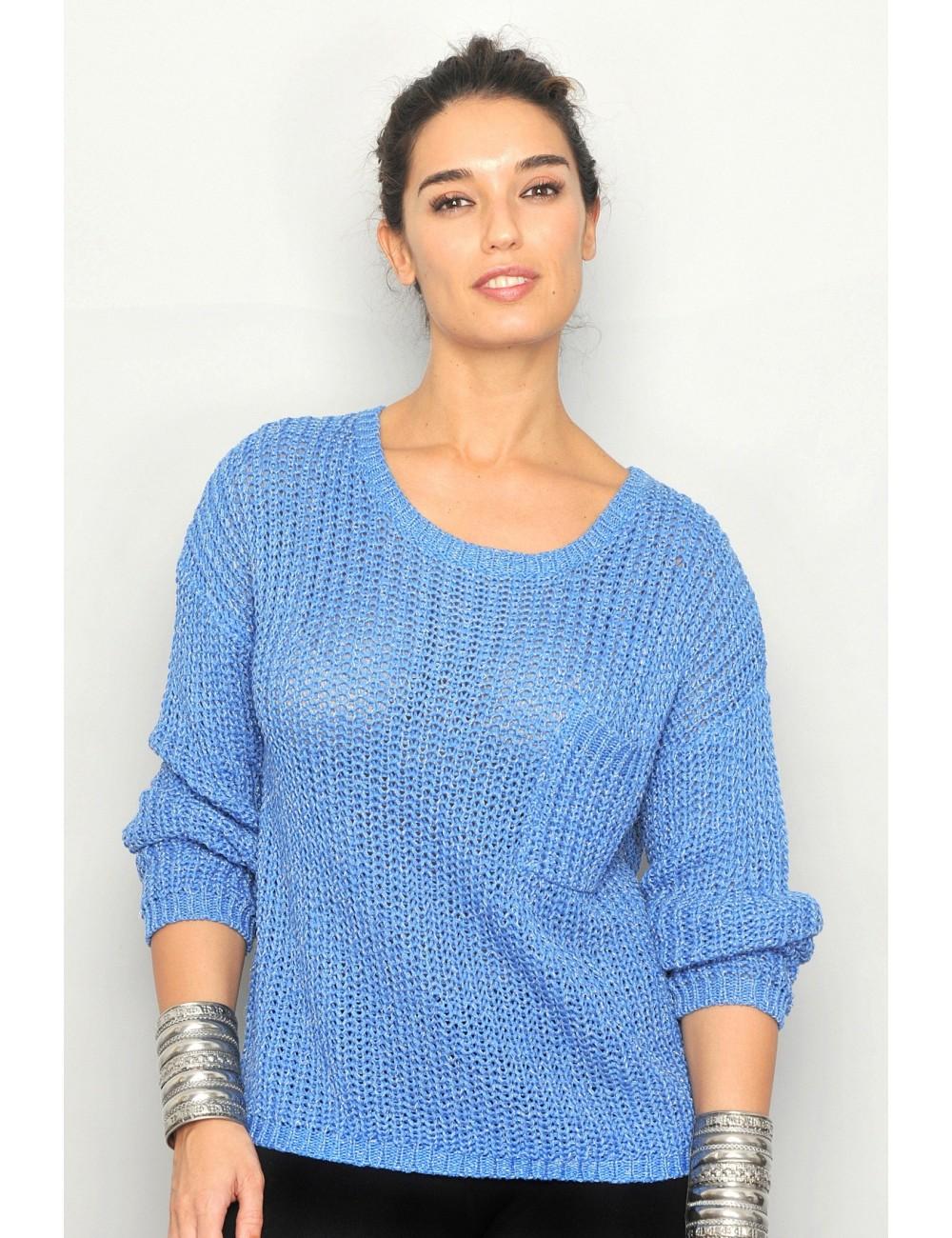 Pulover femei albastru cu fir argintiu 29I14-226-A