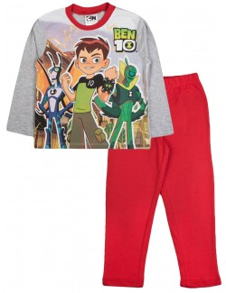 Pijama Ben Ten, gri-rosu, copii 3-8 ani
