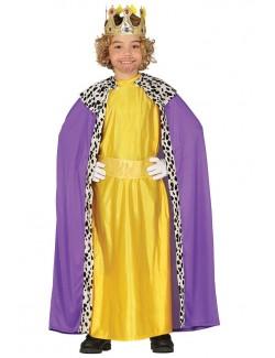 Costum Rege Mag, galben-mov, copii 3-12 ani
