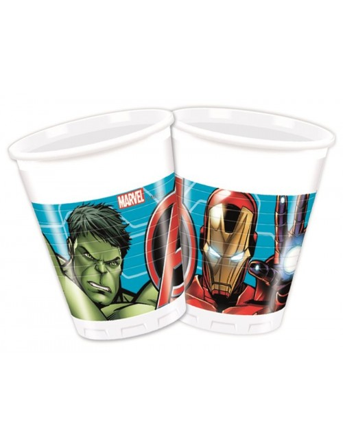 Set 8 pahare Avengers, 200 ml, plastic