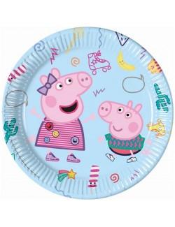 Set 8 farfurii party, Peppa Pig & George, 23 cm