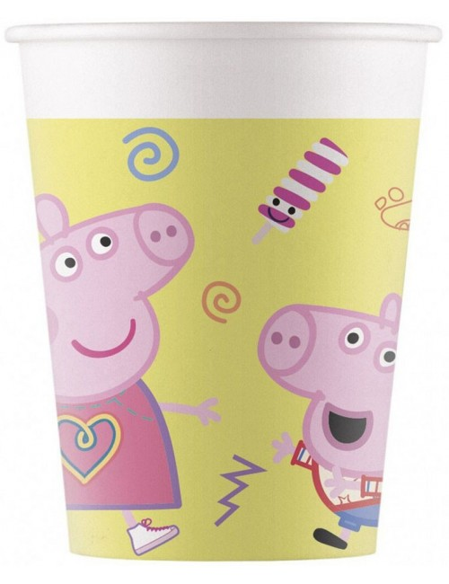 Set 8 pahare carton, Peppa Pig , 200 ml