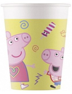 Set 8 pahare carton, Peppa Pig , 200 ml