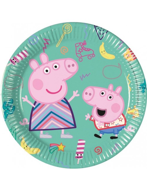 Set 8 farfurii party Peppa Pig & George, 20 cm