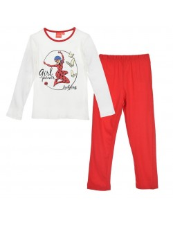 Pijama Buburuza, alb-rosu, copii 4 - 8 ani