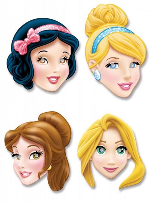 Set 4 masti carton, Printese Disney, pentru copii