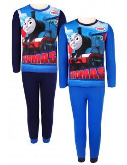 Pijama Locomotiva Thomas, albastra, copii 3-8 ani