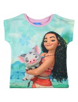 Tricou Vaiana si Pua, copii 2-8 ani, roz-vernil