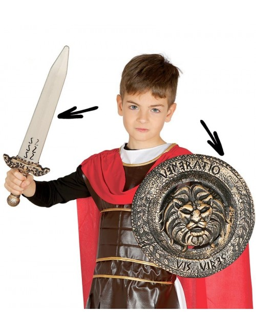 Set luptator medieval: Scut 29 cm si sabie 48 cm