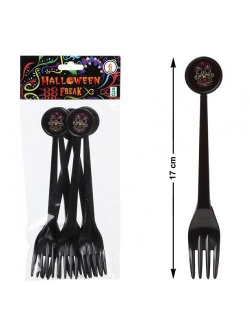 Set 6 Furculite negre Halloween, 17 cm