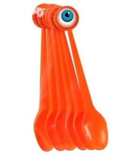 Set 6 Lingurite portocalii Halloween, 17 cm