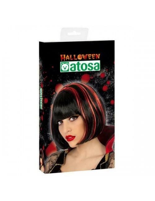 Peruca Halloween negru-rosu, adulti