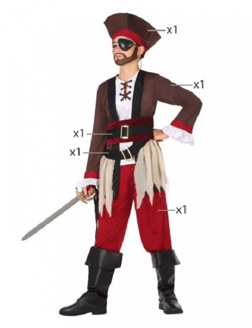 Costum Pirat din Caraibe, copii 4-12 ani