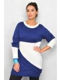 Pulover lung femei, mohair albastru - alb M-XL