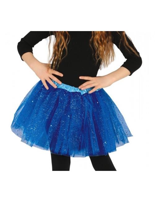 Fusta tutu albastra, cu sclipici, pentru copii