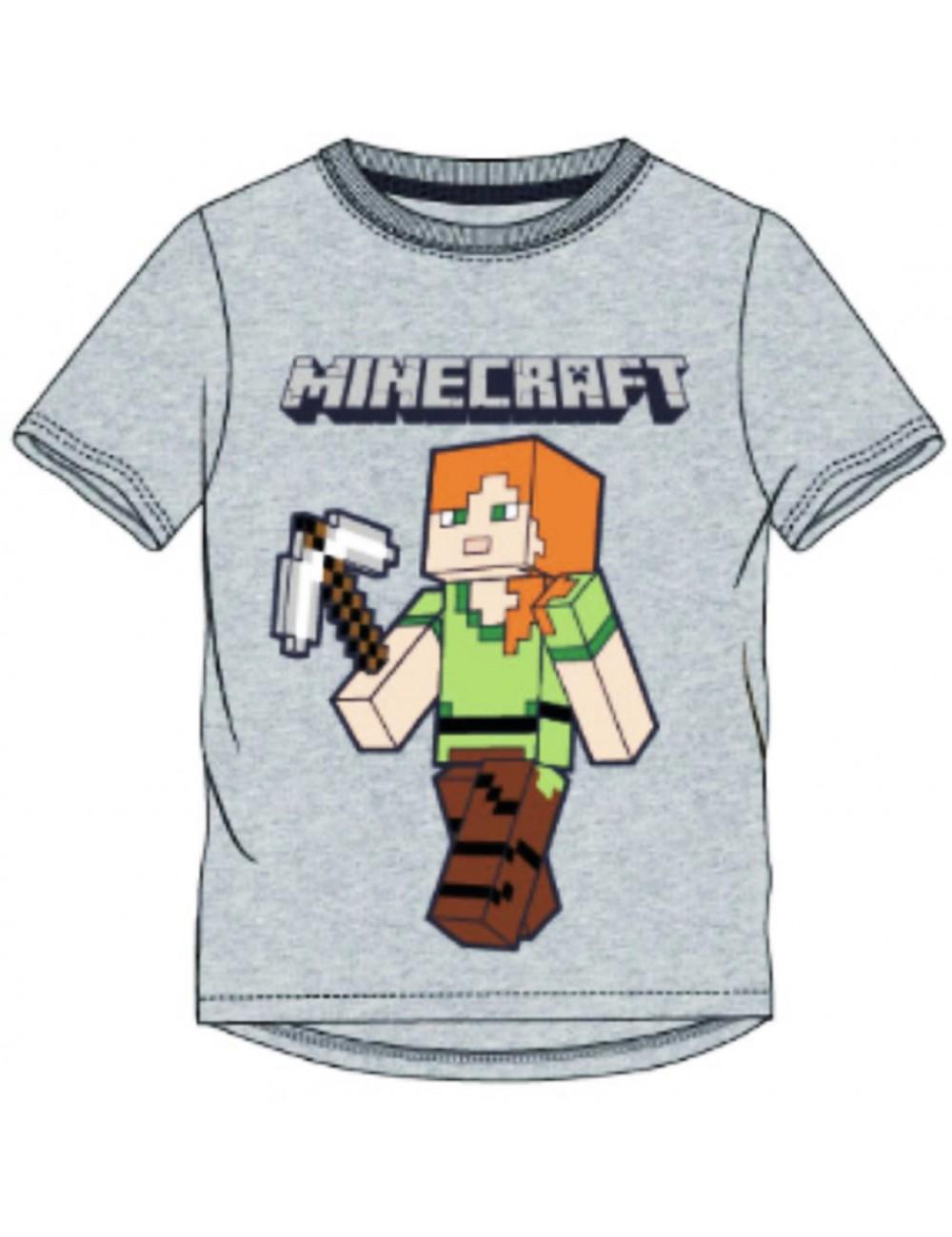 Tricou Minecraft Steve, gri, copii 6-12 ani