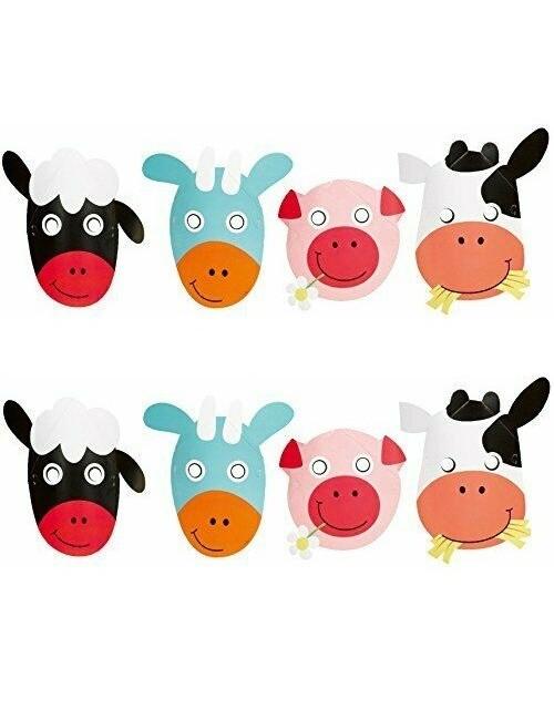 Set 8 masti carton, Animale Ferma, pentru copii