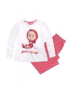 Pijama Masha si ursul, alb-rosu, copii 2-8 ani
