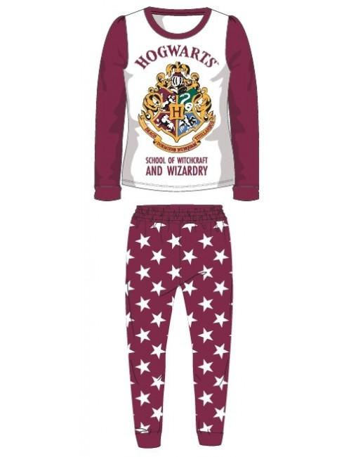 Pijama Harry Potter Hogwarts, alb-visiniu, copii 6-14 ani