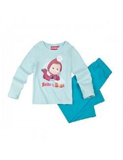 Pijama Masha si ursul, bleu-turcoaz, copii 2-8 ani