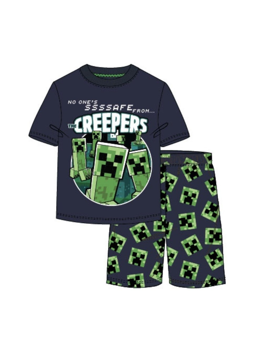 Pijama Minecraft Creepers, copii 6-12 ani