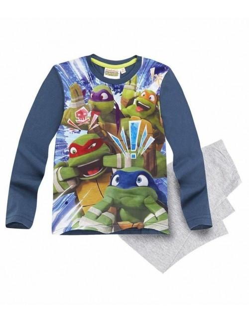 Pijama Testoase Ninja, 6-12 ani, albastru-gri
