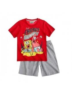 Pijama Sponge Bob, rosu-gri, copii 4-12 ani
