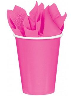 Set 8 pahare carton, 266 ml, roz aprins