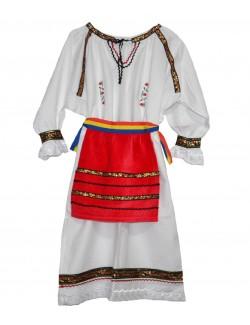 Costum popular cu broderie, fete 4-9 ani