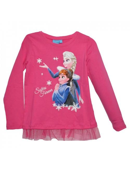 Bluza Frozen 2, Anna si Elsa, fucsia, fete 3-8 ani