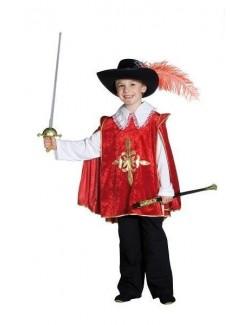 Costum carnaval copii: Mantie Muschetar, rosie, 128 cm