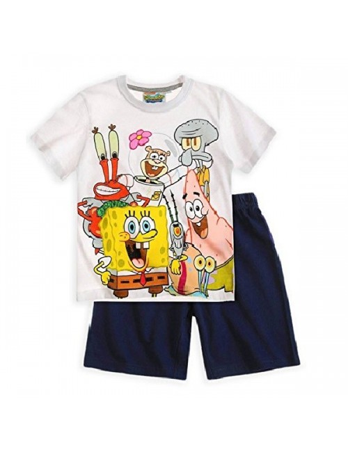Pijama Sponge Bob, alb-bleumarin, copii 4-12 ani