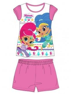 Pijama vara, Shimmer si Shine, alb-roz, fete 3-8 ani