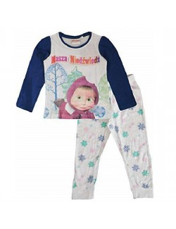 Pijama Masaha si ursul, alb-gri, copii 3-9 ani