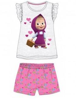 Pijama vara, Masaha si ursul, gri-roz, copii 2-7 ani
