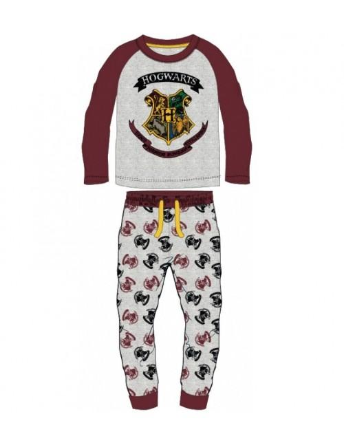 Pijama Harry Potter Hogwarts, gri-visiniu, 6-14 ani