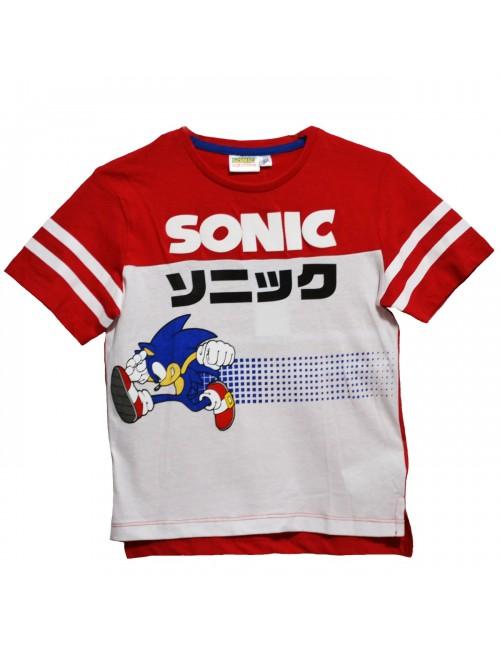Tricou Ariciul Sonic, alb-rosu, copii 3-8 ani